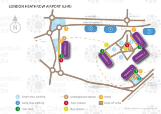 Mapa do terminal e aeroporto Londres Heathrow (LHR)