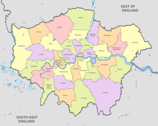 Mapa dos distritos (boroughs) de Londres